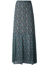 Twin Set Floral Print Maxi Skirt Women Silk Polyester Viscose 44 Blue