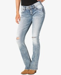 Silver Jeans Co. Elyse Ripped Light Blue Wash Straight Leg Indigo