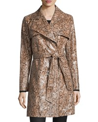 Neiman Marcus Snake Print Leather Trenchcoat Tan Multi