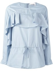 See By Chloe Ruffled Drawstring Blouse Blue