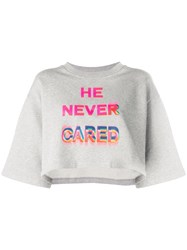 Marcelo Burlon County Of Milan He Never Cared Cropped T Shirt Grey