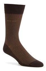 Men's Boss 'David' Herringbone Socks Brown Dark Brown