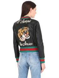 Gucci Tiger Embroidered Leather Bomber Jacket