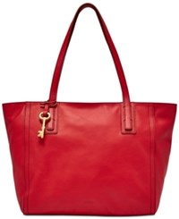 Fossil Emma Leather Tote Crimson