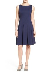Halogenr Petite Women's Halogen Ponte Fit And Flare Dress Navy Peacoat