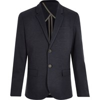 River Island Mens Navy Denim Jersey Blazer