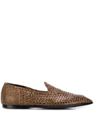 Dolce And Gabbana Hand Woven Slippers Brown