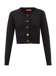 Altuzarra Wellmore Cropped Wool And Cashmere Cardigan Black