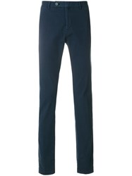 Hackett Straight Leg Trousers Cotton Spandex Elastane Blue