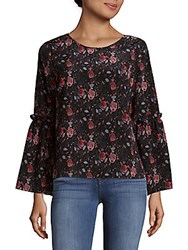 Saks Fifth Avenue Black Roundneck Bell Sleeve Top Black