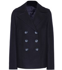 Joseph Double Peacot Hector Wool Blend Coat Blue