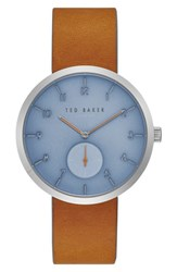 Ted Baker Men's London Josh Leather Strap Watch 42Mm Blue Brown