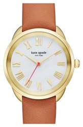 Women's Kate Spade New York 'Crosstown' Leather Strap Watch 34Mm Brown Mother Of Pearl