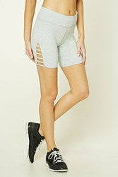 Forever 21 Active Ladder Cutout Shorts Heather Grey