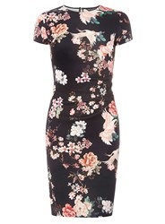 Dorothy Perkins Black Floral Print Ruched Bodycon Dress