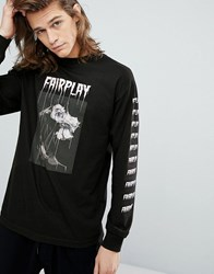 Fairplay Long Sleeve T Shirt With Rose Back Print In Black Black