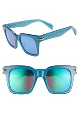 Rag And Bone 51Mm Polarized Mirrored Square Sunglasses Blue