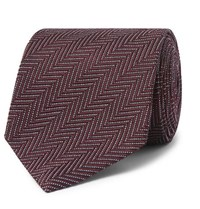 Tom Ford 8Cm Herringbone Woven Silk And Cotton Blend Tie Purple