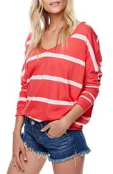 Free People Women's Upstate Stripe Tee Red