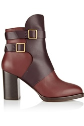 Tod's Two Tone Leather Ankle Boots Red