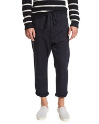 Vince Drop Rise Cropped Drawstring Pants Navy