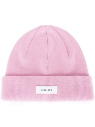 Soulland Logo Patch Beanie Hat Pink And Purple