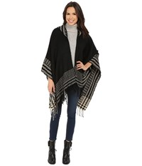 Christin Michaels Emilia Fringed Poncho Black Cream Women's Clothing