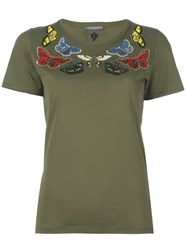 Alexander Mcqueen Beaded Moth T Shirt Green