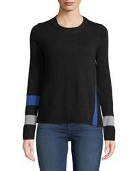 Lisa Todd Sneak Peek Cashmere Sweater W Peekaboo Side Zipper Onyx