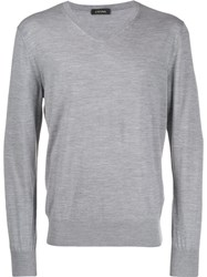 Z Zegna Fine Knit Sweater Grey