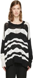 Ann Demeulemeester Black And Off White Heavy Knit Sweater