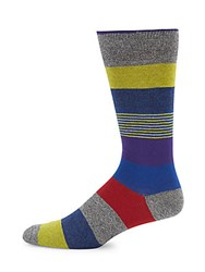 Saks Fifth Avenue Stripe And Colorblock Socks Grey