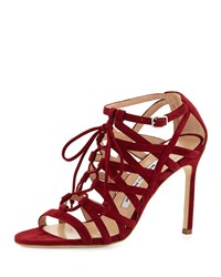 Manolo Blahnik Vostra Strappy Suede Lace Up Sandal Bordeaux Bordo