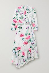 Andrew Gn Asymmetric Lace Trimmed Floral Print Silk Crepe Midi Dress White
