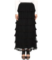 Red Valentino Silk Georgette With Tulle Skirt Nero