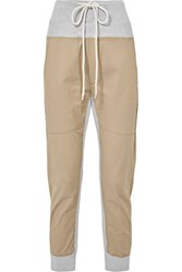Bassike Cotton Blend Jersey And Twill Track Pants Beige Gbp