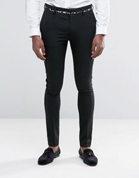 Asos Super Skinny Suit Trousers With Black And Gold Tipping Black