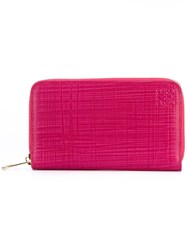 Loewe Large Zip Around Wallet Women Calf Leather One Size Pink Purple