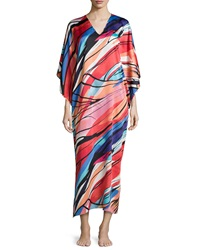 Natori Fiji Abstract Print Caftan Multicolor