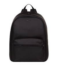 Armani Jeans Leather Logo Backpack Unisex Black
