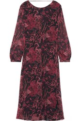 Iro Aby Open Back Printed Silk Georgette Midi Dress Red