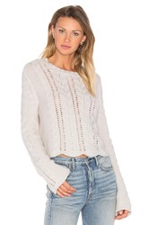 27 Miles Malibu Beyonce Bell Sleeve Crop Sweater Light Gray
