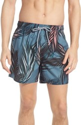 Ted Baker London Raynebo Slim Fit Palm Leaf Swim Trunks Dark Green