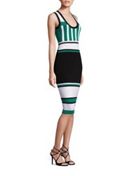 Prabal Gurung Sleeveless Perforated Knit Colorblock Dress Black White Green