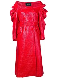 Simone Rocha Varnished Double Breasted Coat Red