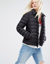 Love Moschino Ruffle Detail Quilted Jacket Black