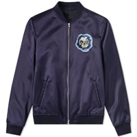 Alexander Mcqueen Flower Skull Satin Embroidered Bomber Jacket Blue