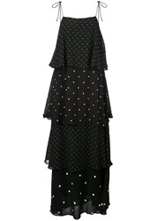 Anine Bing Polka Dot Tiered Dress Black