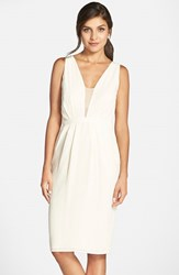 Women's Paper Crown By Lauren Conrad 'Peony' Sleeveless Crepe Sheath Dress With Sheer Inset Cream