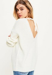 Missguided White Tie Back Plunge Jumper Ivory